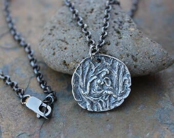 Forest Muse Coin Necklace - Ancient Greek style coin charm, sterling silver rolo chain-  Woodland Nymph- free shipping USA
