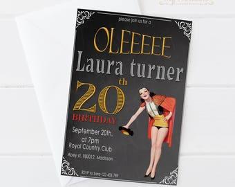 20th Birthday Invitation / Digital Printable Torero and Spain Birthday Invite for Adults / DIY Party