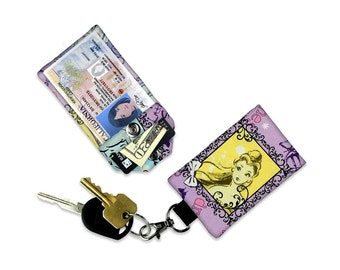 Disney Princess Belle Small Wallet Beauty and the Beast Card Holder Keychain Luggage Tag ID Credit Card Mini Wallet Bag Keychain Wallet