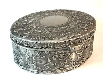 Vintage Decorative Oval Silver Box.