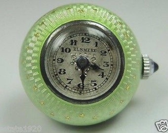 Edwardian Guilloche Green Enamel Elsmere Silver Ball Pendant Watch