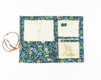 Small or Large Jewelry Case / Roll up Travel Case - Herb Garden in Navy - Rifle Paper Co.