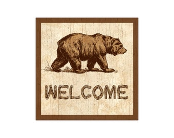 Welcome Sign-Bear Plaque
