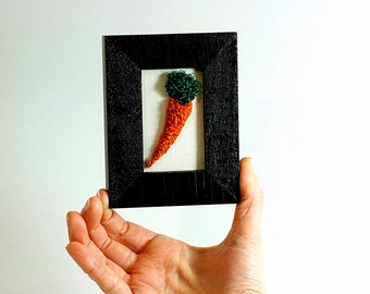 Carrot Kitchen Art in a Mini Frame. Punchneedle Embroidery Fiber Art. Home, Office, or Kitchen Decor. Orange, Green, Brown. Foodie