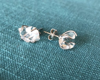 Herkimer Diamond Stud Earrings; Herkimer earrings; Sterling Silver Studs; Quartz Earrings; Gift for her;