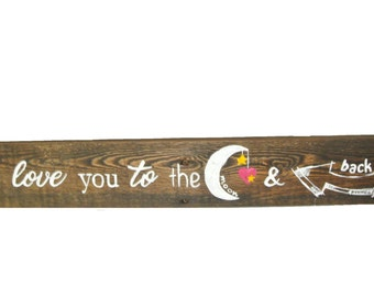 I Love you to the moon and back, I love you decor, Wall Sign, Home Decor, I love you to the moon and back wall sign, Love Wall Decor