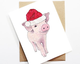 Christmas Card - Piglet, Cute Christmas Card, Animal Christmas Card, Holiday Card, Xmas Card, Seasonal Card, Christmas Card Set, Piglet Card