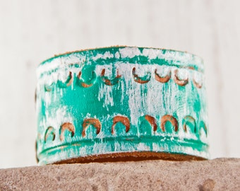 Turquoise Bracelets Teal Leather Jewelry Earthy Natural Unique
