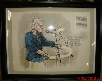 "Framed & Signed 20""x15"" David Rose Courtroom Artist Sketch of Witness Lise Lesevre Testimony at Klause Barbie Trial May 1987 RARE! Framed"