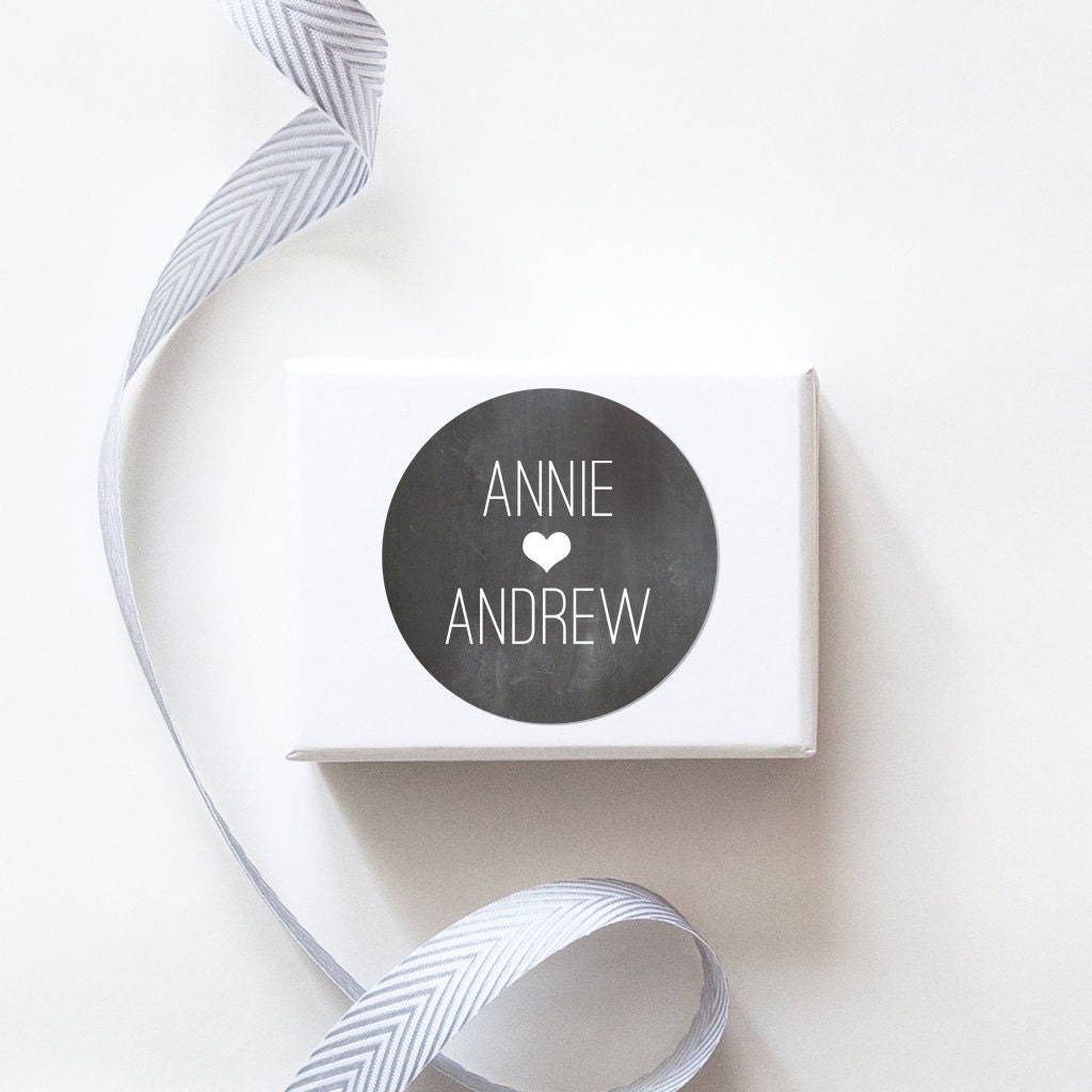 Chalkboard Wedding Favor Stickers Custom Labels // Rustic