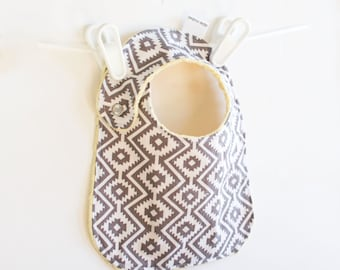 Unisex Baby Bib Adjustable Aztec Fiesta Baby Bib with Minky Eduardo Coin