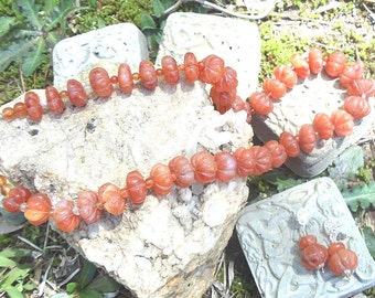 Carnelian Melon Bead necklace and Earring Set