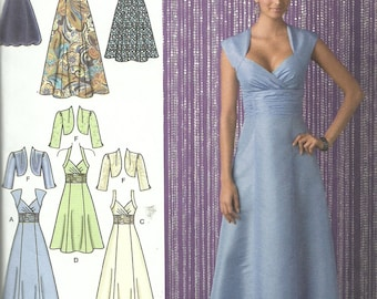 SIMPLICITY PATTERN 2442 ladies formal gown, prom, wedding, brides maid, cruise dress, sundress, matching jacket, sizes 6, 8, 10, 12, 14