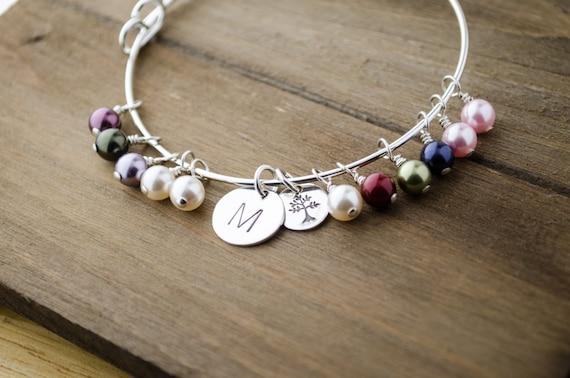 Large Family Tree Adjustable Bangle Bracelet | Generations Jewelry | Initial Birthstone Bangle | Tree Bracelet | Hand Stamped Jewelry
