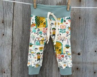 Baby boy leggings, organic baby leggings, baby boy gift, garden baby clothes, baby boy clothes, modern baby clothes, boho boys clothes