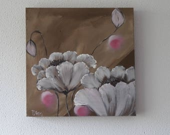 Mothers Day gift, small painting, mini art, flower painting, floral print, tiny painting, botanical painting, modern painting, art