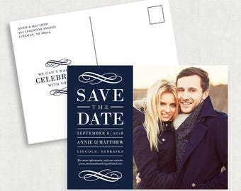 Navy Save the Date Postcards, Photo Save the Date Postcards, Printable Save the Date Postcards, Navy Save the Dates, Printed Save the Dates