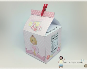 """PRINTABLE MILK Carton """"Baby Girl"""" DIY, gift idea, placeholders, favor box, treat box, gift box for party or Baby Shower"""