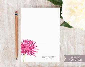 Personalized Notepad - CHRYSANTHEMUM FLOWER - Stationery / Stationary Notepad