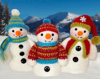 Frosty, Freezy and Fred -  Snowman Amigurumi Crochet Pattern