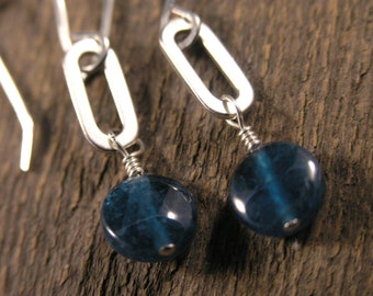 Apatite gemstones and solid sterling silver oblong rings handmade earrings