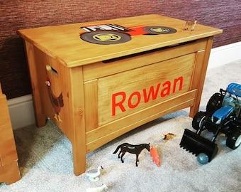 Bespoke, custom-made hand painted toy box. Any name, any design