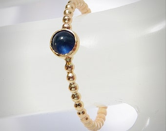 Blue Sapphire Engagement Ring, 14k Gold Filled September Birthstone Ring, Gemstone Ring, Bezel Ring, Stackable Ring - size 4, 5, 6 ,7 ,8, 9