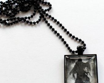 Grim Reaper drawing black chain pendant necklace