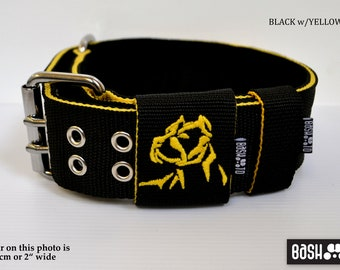 """Strong Heavy Duty Dog Collar - Pit bull / Am staff logo embroidered - width up to 2.4"""" / 6 cm"""