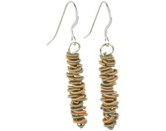 Staccato  Guitar String Dangle Earrings - Two Tone