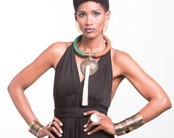 Tassel necklace, african jewelry, statement necklace, ethnic necklace, tribal necklace