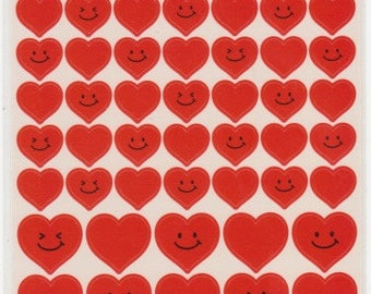 Heart Stickers - Red Heart Stickers - Smiley Face Stickers - Kawaii Japanese Stickers  - Reference A5054-55