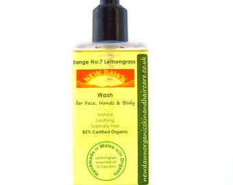 Lemongrass Organic Face, Hand & Body Wash ~ Shower Gel ~ Liquid Soap ~ Handmade ~ Vegan ~ Natural Skin Care