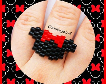 Ring adjustable Minnie Disney in Brick Stitch - pearls Hama Mini
