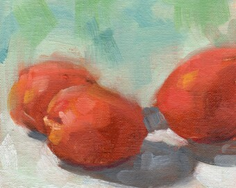 Apricots Painting, Small Oil Painting, Fruit Painting, Wall Decor, Food Art, Kitchen art by Marlene Lee Art