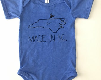 Made in NC, Size 3-6 months, heathered blue with black print, screen printed one-piece/romper, North Carolina