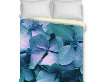 Duvet cover, hydrangea floral king queen duvet cover & shams, contemporary bedding, turquoise duvet cover, boho duvet cover, blue lavender