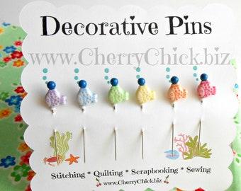 Decorative Sewing Pins - Fish Sewing Pins - Sewing Pins - Scrapbooking Pins - Push Pins - Bulletin Board Pin - Gift for Quilters