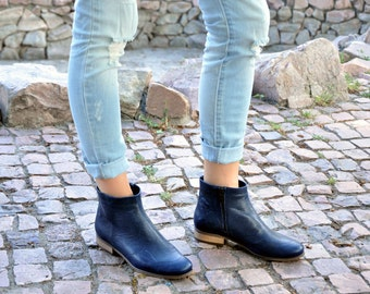 Classon - Womens Ankle Boots, Womens Leather Boots, Chelsea Boots, Navy  Boots,