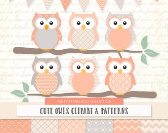 Patterned Peach Owls Clipart and Digital Papers - Peach Owl Clipart, Owl Vectors, Baby Owls, Cute Owls