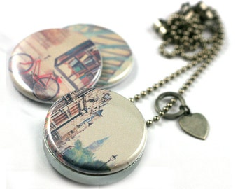 LONDON Locket Necklace • London Photography Jewelry • Travel Necklace • Bicycle • Covent Garden • Big Ben • 3 in 1 Magnetic Jewelry