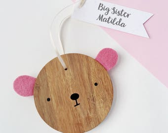 Big Sister Personalised Bear Keepsake - New Sibling Wooden Keepsake - Sister Gift - New Baby Gift - Wooden Bear Decoration