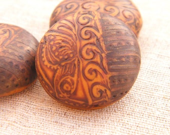 Golden Orange and Rust - Resting Butterfly Round Bead - handpainted polymer clay butterfly rustic boho chic (ready to ship)