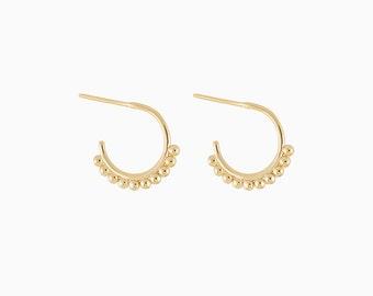 Beaded Hoops - Gold small hoops - Beaded small hoops - Small hoop earrings - Dainty Hoops - Dainty Hoop Earrings - Minimal Hoops