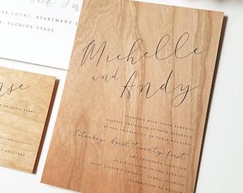 NEW Michelle Calligraphy Script Wood Wedding Invitation Sample - Real Wood Veneer Paper