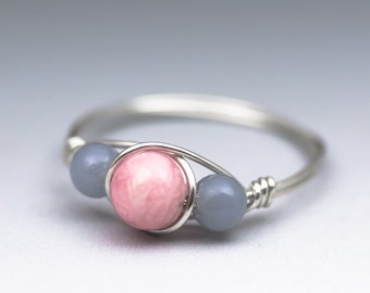 Rhodochrosite & Angelite Sterling Silver Wire Wrapped Gemstone Bead Ring - Made to Order, Ships Fast!