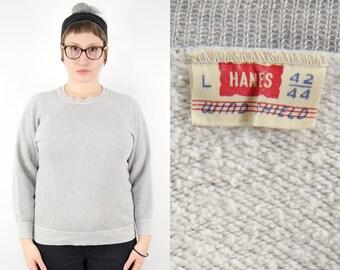 1950s Hanes Sweatshirt, Vintage Workwear 50s Sweatshirt, Hanes Windshield Crew Neck 1950s Pullover Sweatshirt, American Workwear Mid Century