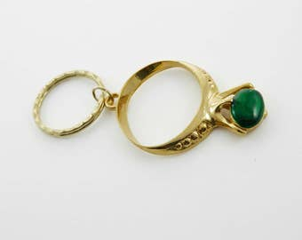Vintage Green Gemstone Ring Keychain