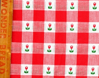 Red White Check Tulip Fabric 1 yard X 60 Sewing Quilting Crafting Fabric 1182
