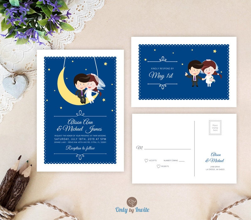 Funny wedding invitation sets Cute Cartoon Bride & Groom on